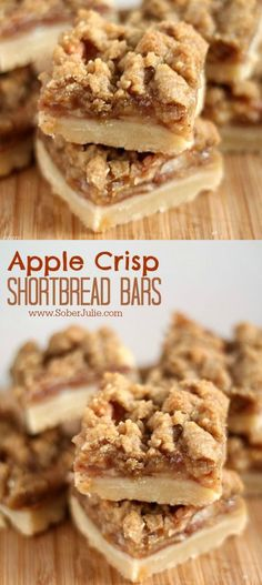 These apple crisp shortbread bars dessert recipe is the perfect fall dessert. Baked with fresh apples. Desserts The BEST Apple Crisp Shortbread Bars Recipe - Sober Julie dessert recipe Apple Dessert Recipes, Mini Desserts, Just Desserts, Delicious Desserts, Easy Apple Desserts, Bar Recipes, Apple Baking Recipes, Apple Deserts, Bar Cookie Recipes