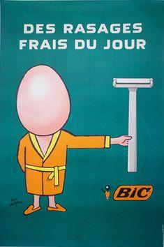 ¤ 'Des rasages frais du jour' Bic Rasoir (1978) by Raymond Savignac