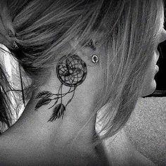 Dreamcatcher neck tattoo
