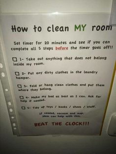 Bedroom Cleaning Checklist: Help Kids Know Expectations For This Chore How to clean my room: Beat the clock! – submitted by a reader, Adamilka, with her personalized version of the bedroom cleaning checklist for her kids! {on Stain Removal Kids And Parenting, Parenting Hacks, Activities For Kids, Crafts For Kids, Clean Bedroom, Cleaning Hacks, Cleaning Room, Room Cleaning Checklist, Raising Kids