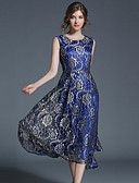 Women's Party Daily Going out Vintage Sophisticated Street chic A Line Midi Dress, Patchwork Lace Round Neck Sleeveless