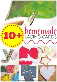 Homemade lacing cards and why kids love them and should do them for fine motor skills and learning, from an Occupational Therapist.