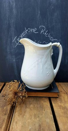 Antique English Ironstone Pitcher, Lily or Fuchsia Pattern, Wood Son and Co. by ElisabethMacBeth on Etsy