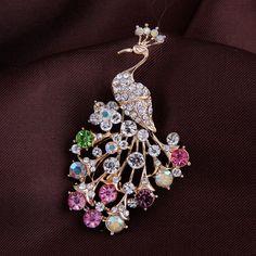 Peacock rhinestone brooches for women fashion rhinestone brooch animal for…