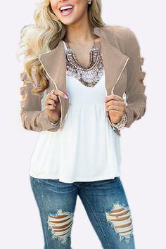 Khaki Fashion Zipper Short Jacket with Hollow Sleeves   - US$19.95 -YOINS