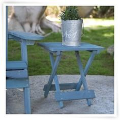 Coral Coast Folding Side Table - Blue Stained