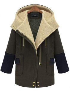 Army green Hooded Long Sleeve Zipper Pockets Woolen Coat 57.67