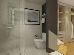 This White And Cream Bathroom With Closets Is Perfectly Designed For  Operational Flow.