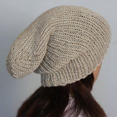 Hand knitted unisex slouchy beanie. A lovely hat by WoolyThinker