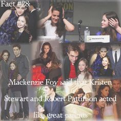 ~ In case you can't read it: Mackenzie Foy said that Kristen Stewart and Robert Pattinson acted like great parents - They look like they'd be great parents { Twilight Saga Series, Twilight Edward, Twilight Cast, Twilight Series, Twilight Movie, Twilight Quotes, Twilight Pictures, Robert Pattinson And Kristen, Kristen And Robert