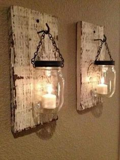 Splendid Rustic barn candle holders from mason jars. On Etsy but not challenging to make. The post Rustic barn candle holders from mason jars. On Etsy but not challenging t . Mason Jar Candle Holders, Mason Jar Candles, Mason Jar Crafts, Citronella Candles, Pot Mason, Wall Candle Holders, Rustic Candle Holders, Scented Candles, Blue Mason Jars