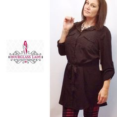 "Black button down shirt tunic dress Black button down shirt tunic dress Full buttoned front, tabbed sleeves Wear as dress or with leggings New Size 2X (please compare measurements) Bust 24"" across, approx 37-39"" hi low hem 100% polyester, crepe look and feel PRICE FIRM UNLESS BUNDLED ~ Create a bundle for 15% off! Thank you for Looking!  Never paypal, no trades! Hourglass Lady Tops Tunics"