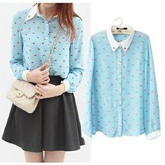 Swan Pattern Chiffon Loose Shirt Long Sleeve Lapel Collar Button Down Single Breast Women Chiffon Blouse Shirt | nussa64wildmana1152a