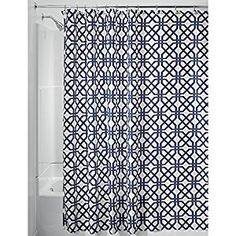 "Amazon.com: InterDesign Trellis Fabric Shower Curtain - 72"" x 72"", Navy Blue/White: Home & Kitchen"