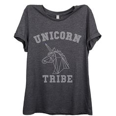 Thread Tank Charcoal 'Unicorn Tribe' Relaxed Tee ($17) ❤ liked on Polyvore featuring tops, t-shirts, cotton graphic tee, tribal tees, graphic tees, charcoal t shirt and tribal tops