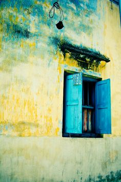 Blue window by S YY, via Old Windows, Windows And Doors, Shop Windows, Speisenkarten Designs, Window Shutters, Blue Shutters, Through The Window, Old Doors, Jolie Photo