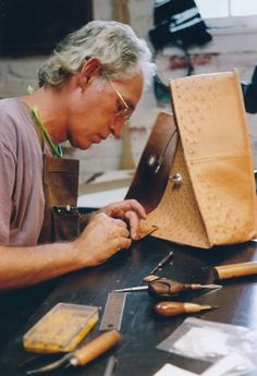 Chuck Pinnell making custom half chaps - I love this man, his craft, and my chaps he made for me 14 years ago. They are still gorgeous.