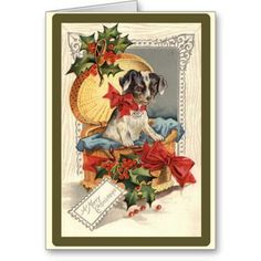 Vintage Christmas Cards  A vintage illustration of an adorable little fox terrier in a gift box. A really cute vintage Christmas ca...