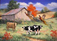 Linda Picken Art Studio / Cows and Pheasants.jpg-the barn