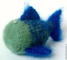 """Купить Вязаная игрушка """"Рыбка"""" (рыба, сувенир, морская) - тёмно-синий, рыба, рыбка"""