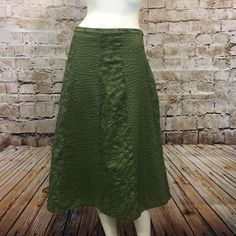 Chicos Womens 3 16 XL A Line Skirt Olive Green Embroidered Cotton Boho | eBay