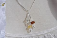 SEA GLASS LAYERED BEACH NECKLACE STERLING SILV BEADS CRYSTALS TRIPLE DROP 9983C #DropDangle