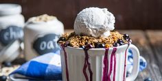 Protein Smoothie adds complete, plant-based protein and two servings of greens to this summertime blueberry crisp.