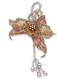 Levinger and Bissinger Brooch, cultured pearl and diamond flower in the form of an orchid with plique-à-jour pink enamel.