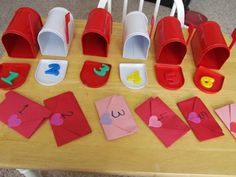 Valentine mailboxes and magnets number match Teacher Valentine, Valentine Mailboxes, Valentine Day Love, Valentines For Kids, Preschool Projects, Preschool Math, Activities For Kids, Mailman Crafts, Dramatic Play Themes