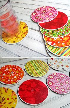 Coasters From Old CDs - I've crocheted covers over them to make hot pads/coasters, but this is a good idea for the non-crocheter!