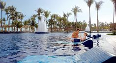 Swimming pool at Barcelo Bavaro Beach Resort in Punta Cana, Dominican Republic. All Inclusive Vacations, Caribbean Vacations, Beach Resorts, Hotels And Resorts, Dominican Vacations, Punta Cana Hotels, Hotel Punta, Samana, Barcelo Bavaro Palace Deluxe