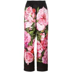 Dolce & Gabbana rose print palazzo pants (€665) ❤ liked on Polyvore featuring pants, bottoms, trousers, pink, floral print pants, floral printed pants, elastic waistband pants, palazzo trousers and elastic waist pants