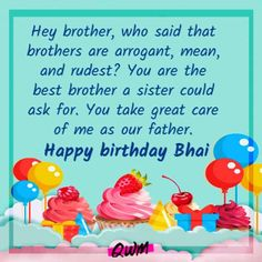 Happy Birthday Brother Messages, Message For Brother, Nice Birthday Messages, Best Birthday Wishes, Very Happy Birthday, Sister Birthday, Hey Brother, Brother From Another Mother, Brother Quotes