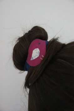 Pink bird with delicate blue floral pattern by SecretSquirrel13, £2.50