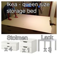 "Ikea queen storage bed we made using Stolmen & Lack pieces. It comes to 86.5""x61"". A queen mattress is 80x60. We need to come up with a 6"" deep storage headboard idea still to fill the gap. You get 10 drawers in bed for LIGHT items. Nothing heavy.  Used 2 long units on each side.  1 short unit at foot of bed.  3 Lacks in the middle as filler."