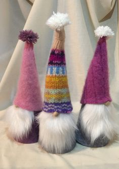"Cute Scandinavian Sweater Gnomes, Tomte, Nisse, Swedish Christmas Elfs, set of 3, group ""Z"""