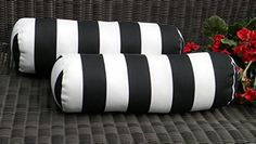 Resort Spa Home Decor Set of 2 Indoor/Outdoor Decorative Bolster/Neckroll Pillows Black and White Stripe *** Read more at the image link. (This is an affiliate link and I receive a commission for the sales) Pool Patio Furniture, Neck Roll Pillow, Living Pool, White Porch, Home Decor Sets, Indoor Outdoor, Outdoor Decor, Outdoor Cushions, Patio Pillows