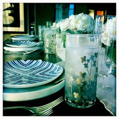 Silver flower glass