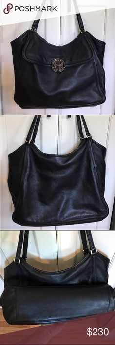 % Authentic Tory Burch Black Slouchy Tote Authentic black real leather Tory Burch bag is in preloved excellent condition. Does not have a dust cover. NOT TAKING OFFERS, THE PRICE IS VERY FIRM. Any questions, please ask. Thanks  Tory Burch Bags Shoulder Bags
