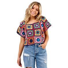 Crochet Hippie, T-shirt Au Crochet, Point Granny Au Crochet, Granny Square Projects, Granny Square Sweater, Granny Square Häkelanleitung, Pull Crochet, Crochet Shirt, Granny Square Crochet Pattern