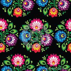 Modelo polaco floral tradicional inconsútil - origen étnico