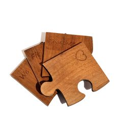 'We Fit Together' Wood Jigsaw Coasters - Made Lovingly Made