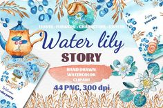 Water Lily Story by zzorna art on @creativemarket