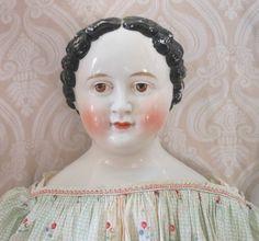 Grand Size German Glazed Porcelain China Head Doll by Kloster Veilsdorf