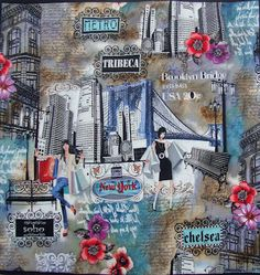 """""""NEW YORK, DAY AND NIGHT"""" (Front) One Piece Panel  22"""" x 23""""  Free Motion Quilting. QUILTS BY MARISELA."""