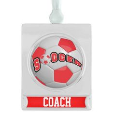 Red and White Personalize Soccer Ball Silver Plated Banner #ornament #sport #zazzlebesties #zazzle Available in lots of colors.  Add your own name. mom, dad, etc...