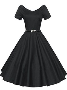 Luouse 40s 50s 60s Vintage V-neck Swing Rockabilly Pinup Ball Gown Party Dress Black Large