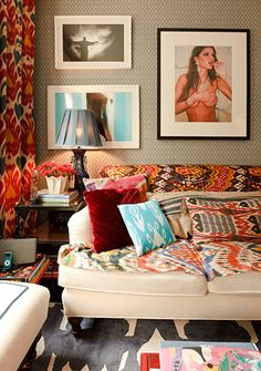 Beautifully layered ikat room..