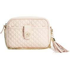GUESS Classic Quilted Mini Cross-Body ($56) ❤ liked on Polyvore featuring bags, handbags, shoulder bags, pink, quilted shoulder bag, mini crossbody, pink shoulder bag, mini cross body purse and mini shoulder bag