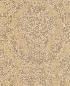 Graham Brown - Province: Gold wallpaper - for master bedroom? Powder Room Wallpaper, Cream Wallpaper, Brown Wallpaper, Damask Wallpaper, Designer Wallpaper, Buy Wallpaper Online, Neutral Palette, French Country Decorating, Victorian Homes